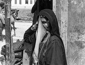 A veiled Arab woman in Bersheeba, Palestine.
