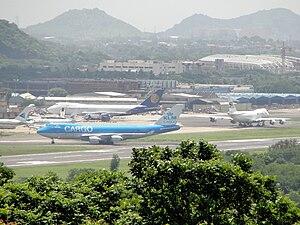 English: Three 747s at Chennai Cargo Terminal....