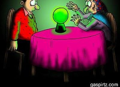 Cartoon about a fortune teller contacting the ...