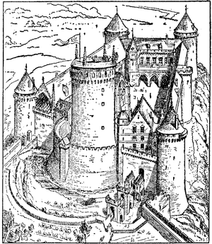 English: Drawing of Coucy Castle