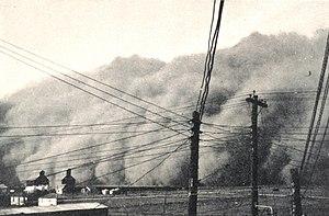 Dust storm approaching Spearman, Texas.