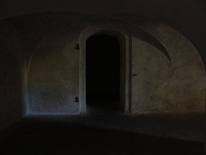 Doorway to solitary confinement, Fort Christia...