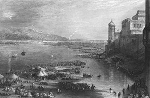 Haridwar Kumbh Mela - 1850s. Steel engraving
