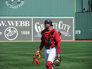 English: Photo of Jason Varitek in catcher's g...
