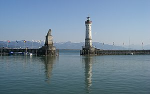 Harbor entrance with Bavarian Lion and New Lig...