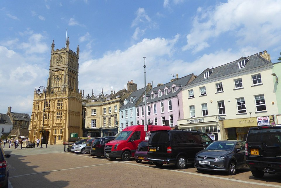 View of Market Place in Cirencester, with St John's Church to the left.