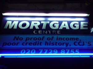Sign of a mortgage centre in East London