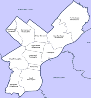 English: Map of Philadelphia County highlighti...