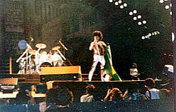 A banda em concerto no Rock in Rio, 1985
