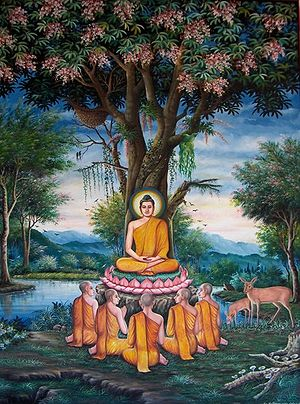 Buddha giving the Sermon in the Deer Park, dep...