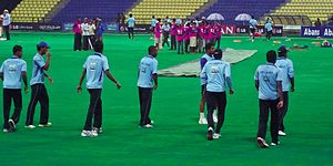 English: Sri Lankan team practicing before the...
