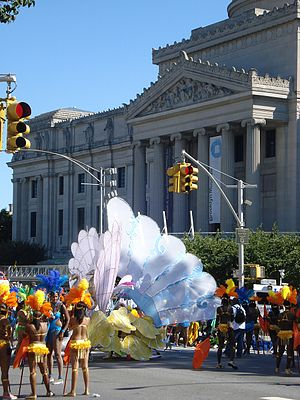 The parade in front of the Brooklyn Museum.
