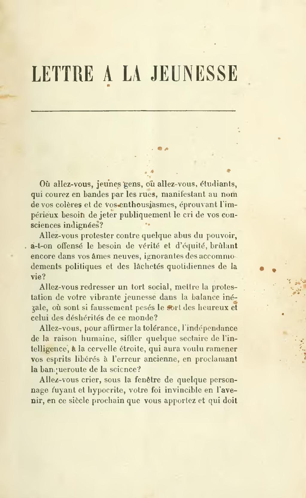 Zola Lettre à La Jeunesse : lettre, jeunesse, Page:Zola, Lettre, Jeunesse,, 1897.djvu/9, Wikisource