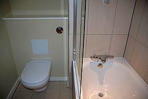 English: Bathroom (toilet and bath)
