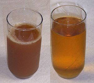 American-style apple cider, left; Apple juice,...
