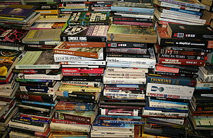 English: Stack of books in Gould's Book Arcade...