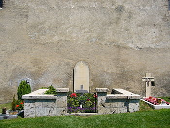 Grave of Rainer Maria Rilke at the churchyard ...