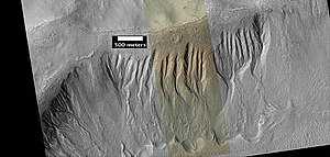 English: Gullies in a crater near Netwon Crate...