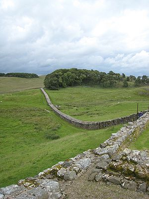 A stretch of Hadrian's Wall viewed from Vercov...