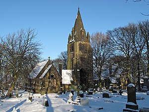 English: Pudsey cemetery, Pudsey on Christmas ...