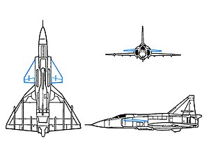 Canards (lateral surfaces in blue ) on the Saab Viggen