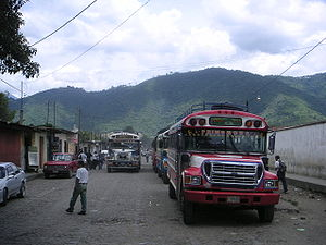 Chicken buses in Antigua, Guatemala