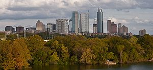 Downtown Austin from across Town Lake.