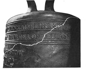English: Liberty Bell depiction of hairline cr...