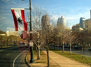 English: Viewing Benjamin Franklin Parkway tow...