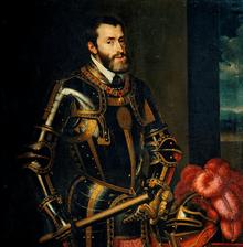 Portrait de Charles Quint par Rubens (d'après Le Titien).Charles de Habsbourg dit Charles Quint, 1500 1558, maître notamment de l'Espagne et de son empire colonial, des dix-sept provinces des Pays-Bas, du royaume de Naples, des possessions des Habsbourg, élu empereur d'Allemagne en 1519, est le monarque chrétien le plus puissant de la première moitié du XVIe siècle.