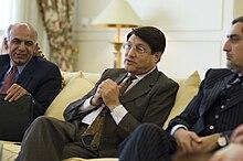 From left to right: Ashraf Ghani, Anwar ul-Haq Ahady, and Abdullah. (April 2009)