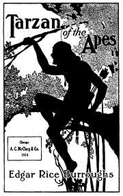 Illustrazione di copertina per l'edizione del 1914 di Tarzan delle scimmie