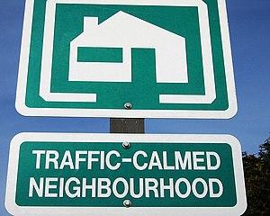 """""""Traffic-calmed neighbourhood"""" sign ..."""