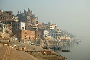Varanasi, India as seen from Ganga river.