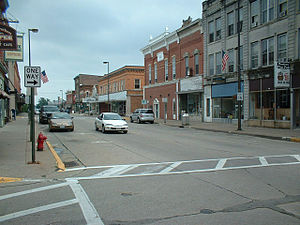 Downtown Platteville, Wisconsin from the corne...