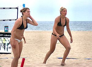 Beach volleyball players; Huntington Beach, Ca...
