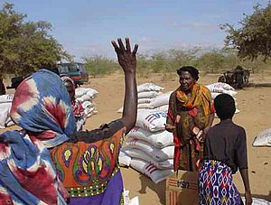 distribution of U.S. food aid in Beledweyne, S...