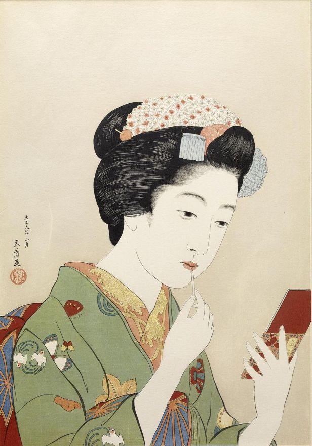 Hashiguchi Goyo - Woman Applying Color to Her Lips - Walters 95879