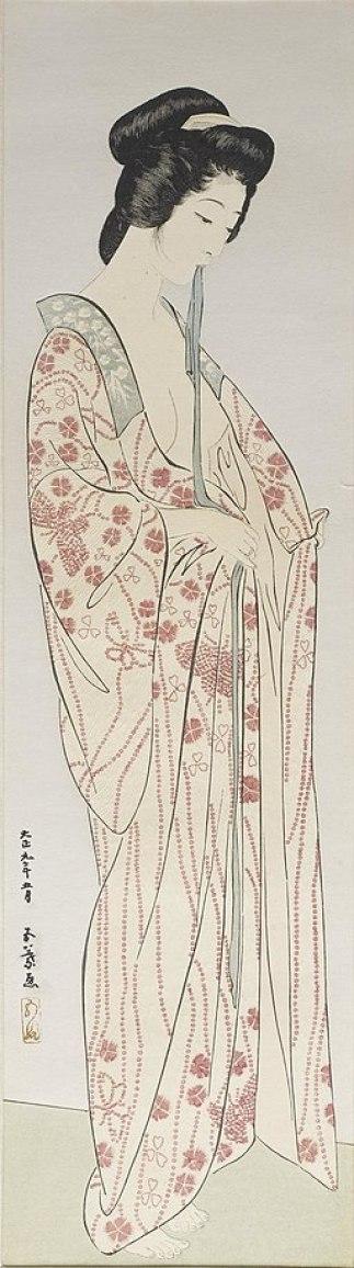 Hashiguchi Goyo - Woman Dressing in a Long Undergarment - Walters 95877