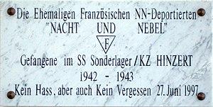 SS-Sonderlager/KZ Hinzert, commemorative plaqu...