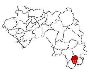 Nzérékoré Prefecture in Guinea and its seat.