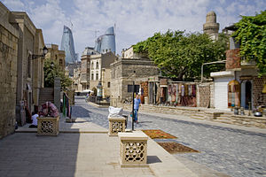 Scene of Asef Zeynali street in Old Baku, Azer...