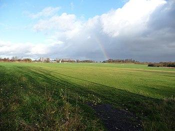 English: Rainbow near Hay Head Wood Nature Res...