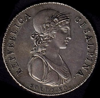 30 soldi coin (equal to 1½ lira) of the Cisalp...