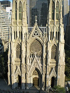 View of the cathedral from Rockefeller Center.