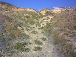 The path up to the car park from the beach Thi...