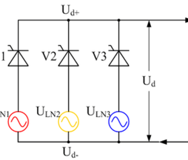 Controlled Three Phase Half Wave Rectifier Circuit Using Thyristors As The Switching Elements Ignoring Supply Inductance
