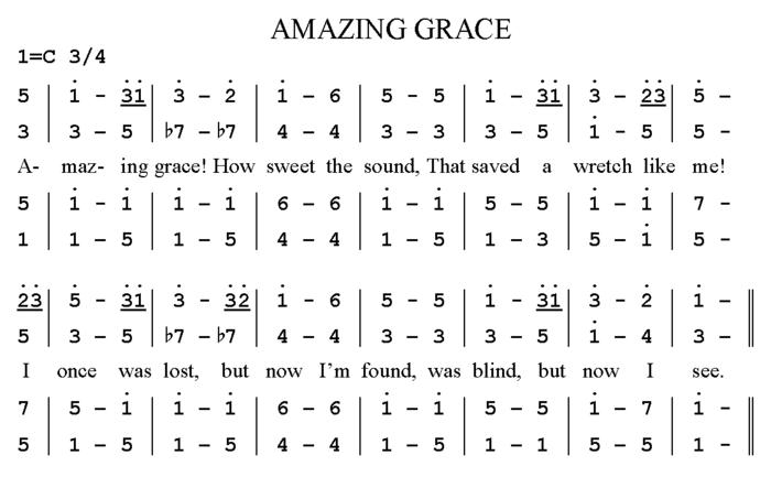 Le morceau assez simple, «Amazing Grace» en notation jianpu
