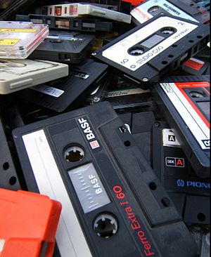 English: A heap of old and unwanted cassette t...