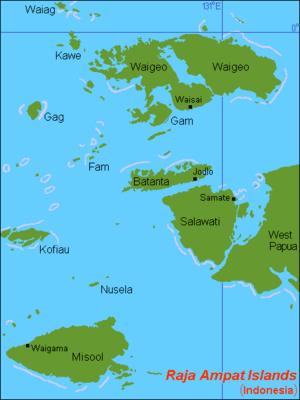 English: Map (rough) of Raja Ampat islands, In...